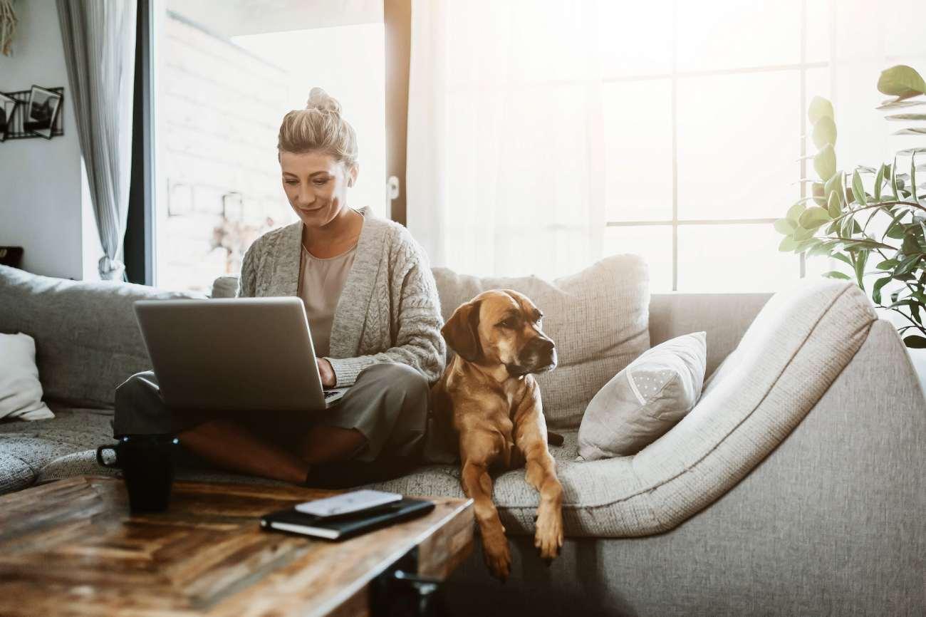 Una donna si siede sul divano a lavorare sul suo laptop, con un cane accanto a lei.