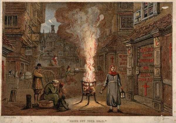 Engaraving of plague ridden street.
