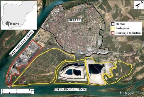 Imagen con delimitación de las zonas industriales y balsas de fosfoyeso de Huelva