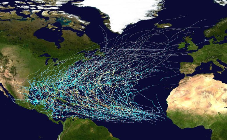 Storm tracks show the curved track from Africa into the Gulf of Mexico and out to the ocean.