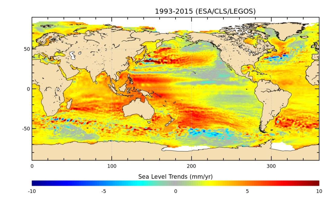 Map showing global sea level rise
