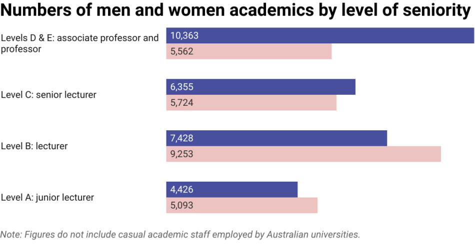 Chart of numbers of men and women employed as academics by Australian universities at different levels of seniority
