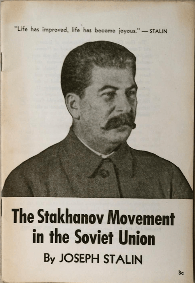 A pamphlet with an Image of Stalin on the front.