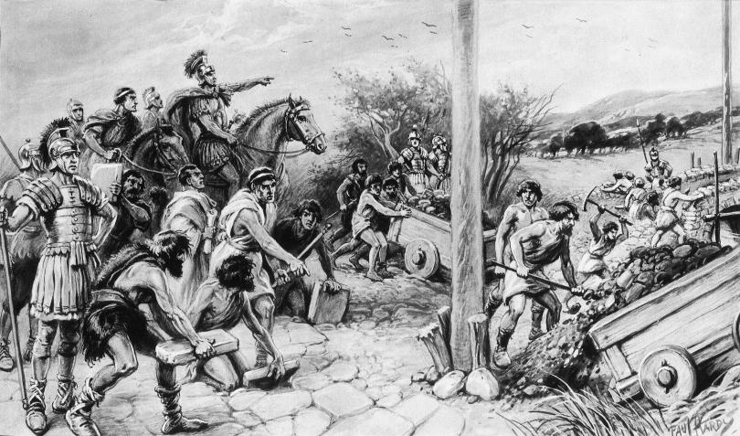 Black and white painting of Roman soldiers on horseback ordering locals to build a road
