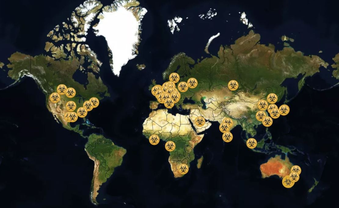 A map showing the location of the BSL4 labs around the world.
