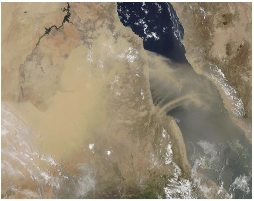 Sudan's 'forgotten' pyramids risk being buried Satellite image of Sudan with large dust clouds