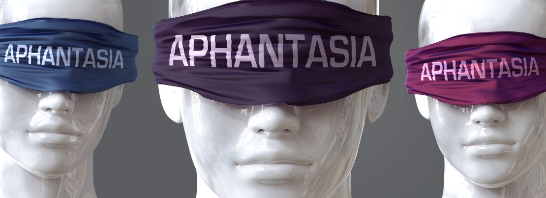 Image of mannequins with blindfolds saying 'aphantasia'.