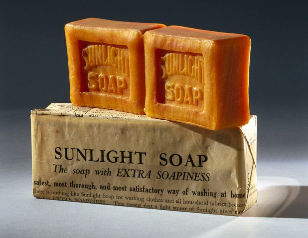 Cakes of Sunlight Soap with vintage wrapper.