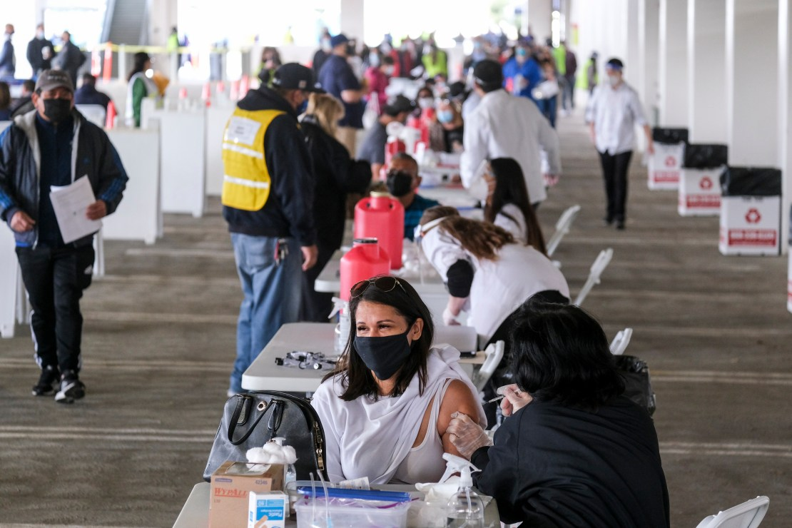 People at a vaccination centre in the US