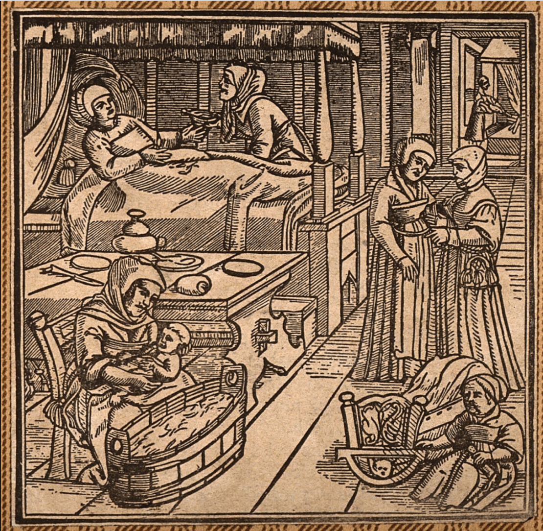 A woodcut engraving of a woman who has just given birth being cared for by other women.