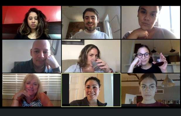 Nine people on a zoom call