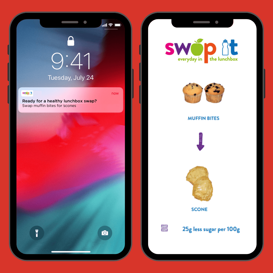 Two phones side by side. The first phone shows a SWAP IT notification. The second phone shows an example of a swap from muffin bites to scones.