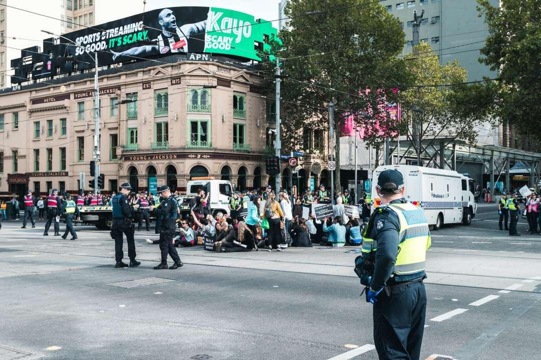 Protests sitting outside Flinders station in Melbourne