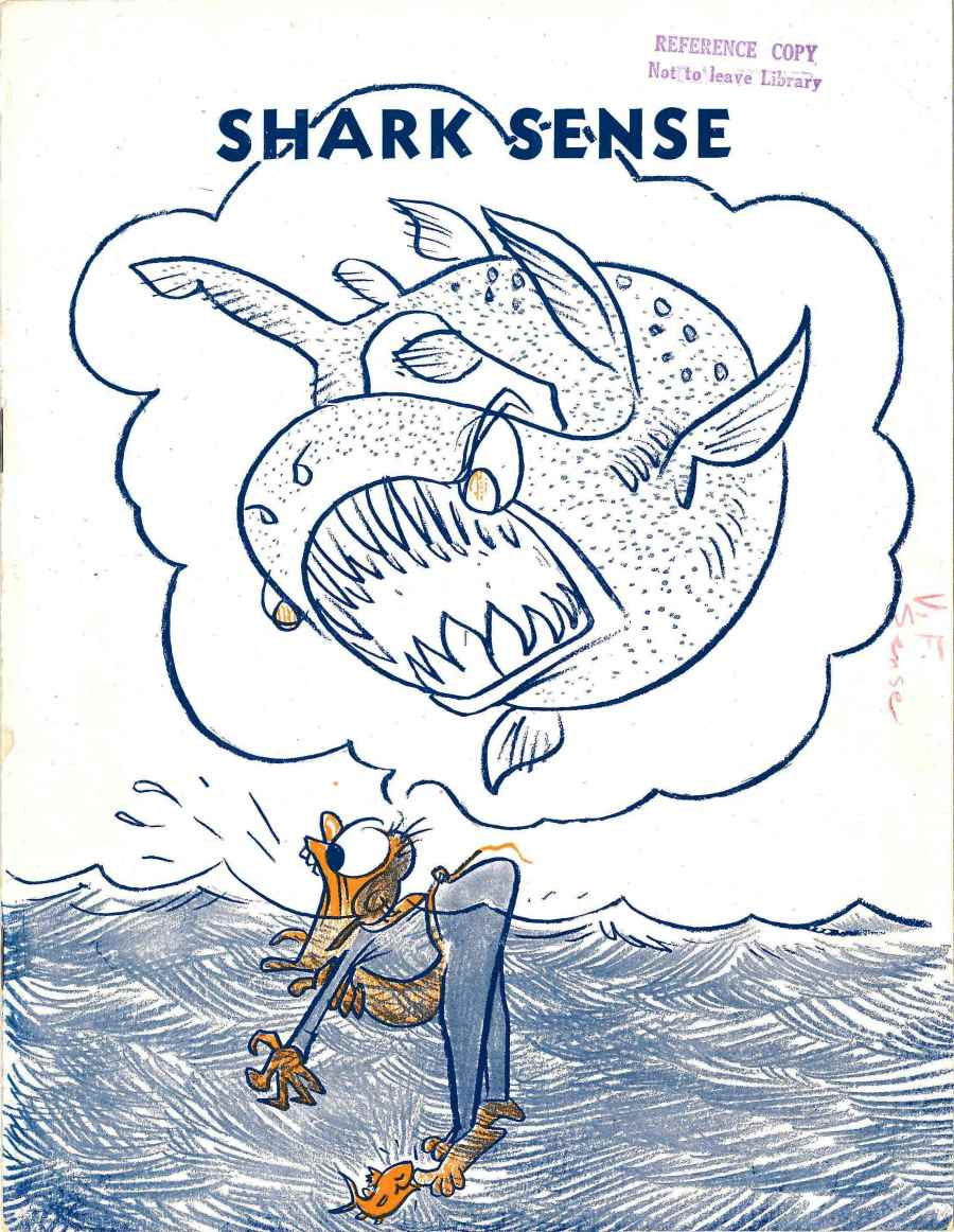 Cover depicting a cartoon shark about to attack someone stranded in the ocean.