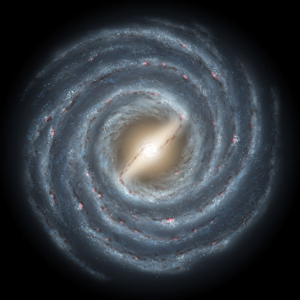 An artist's concept of the swirling spiral arms of our Milky Way galaxy.