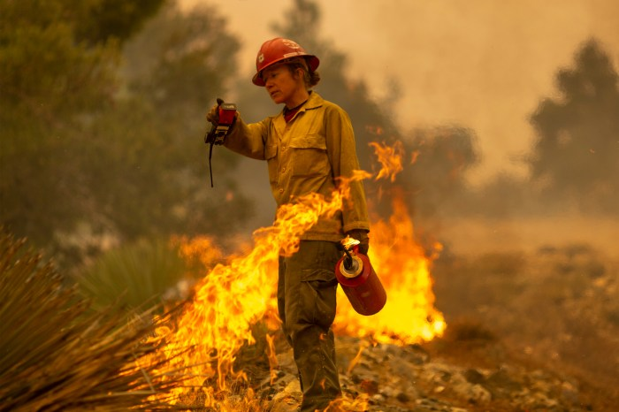 A female firefighter holds a walkie-talkie and drip torch with a thin line of flames behind her.