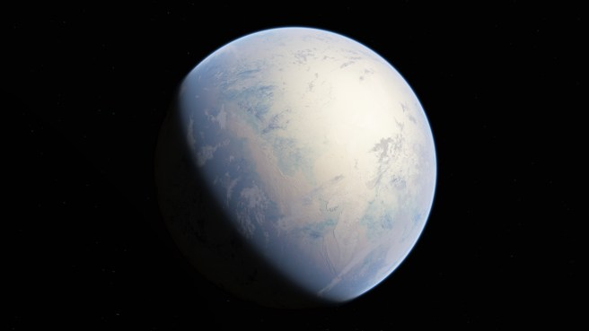 An image of the Earth as it would have appeared during a glaciation period