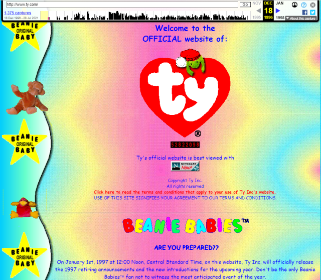 A pastel colored early home page that reads 'Welcome to the OFFICIAL website of: ty'