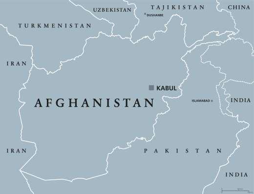 Un mapa político de Afganistán que muestra sus países fronterizos