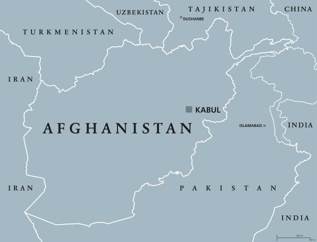 A political map of Afghanistan showing its bordering countries