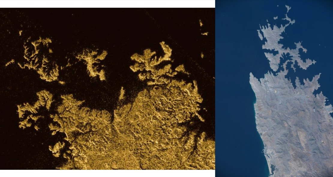 Images of Ligeia Mare and The Musandam peninsula side by side.