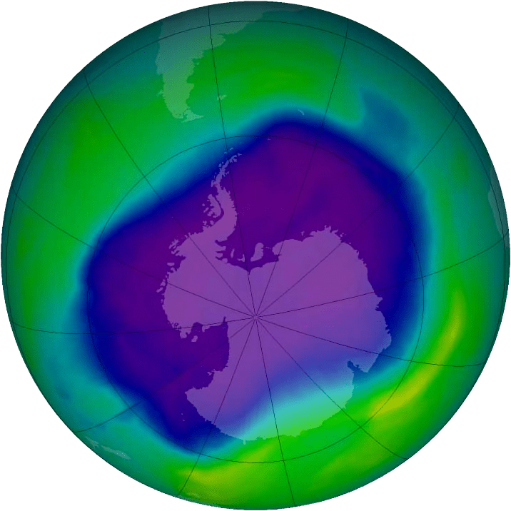A satellite image of the southern hemisphere depicting relative ozone levels in the atmosphere.