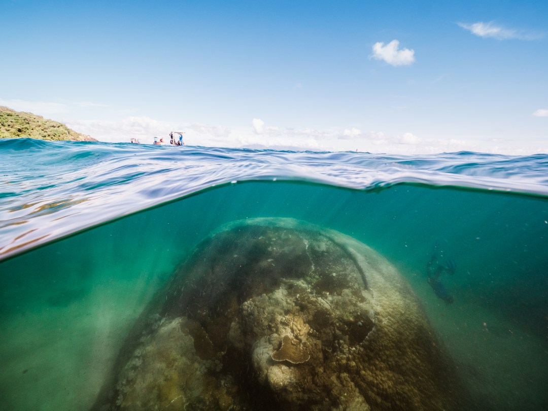 coral rock under water with sky