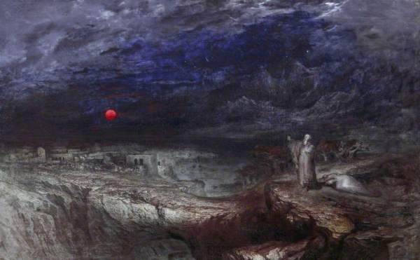 Oil painting of a broody sky, low red sun and a man on the right holding his arms up.