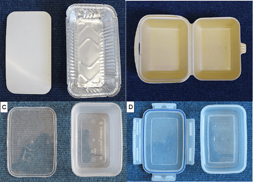 Types of food containers investigated by our study