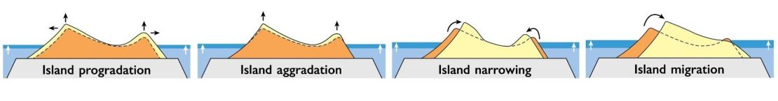 Four diagramatic examples of atoll island growth