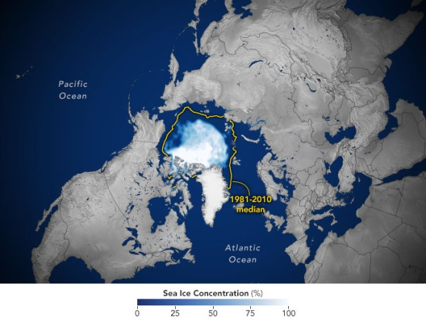 Map showing sea ice reach
