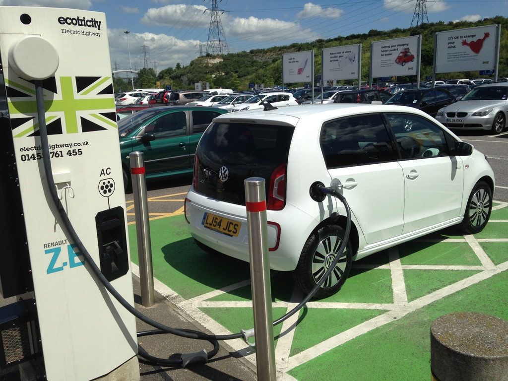 A small, white electric car in a green parking bay connected to a charging point.