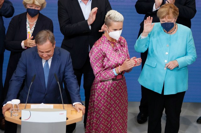 Armin Laschet and other CDU leaders on Sunday.