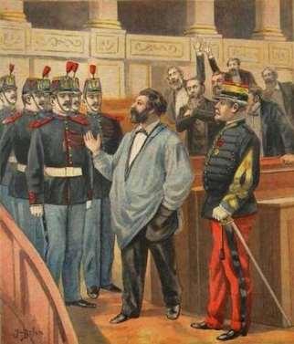 Un dessin montrant Christophe Thivrier, premier maire socialiste au monde, se faisant expulser de la Chambre des députés