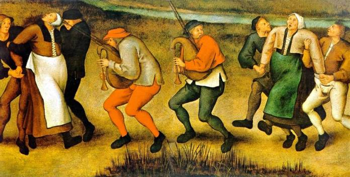 A painting where people take other people to dance uncontrollably.