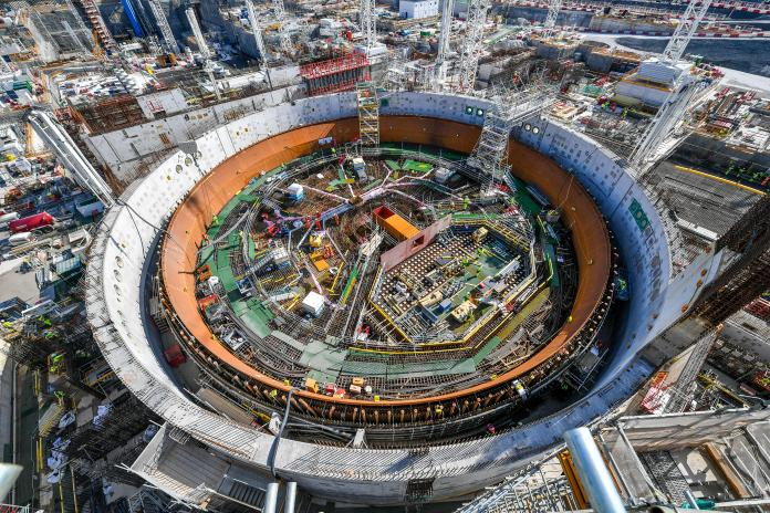 A circular structure containing nuclear technology.