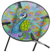 Peacock - Hand Painted Glass Table - The Garden Factory