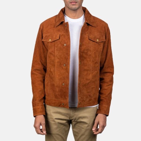 Men' Stallon Brown Suede Jacket