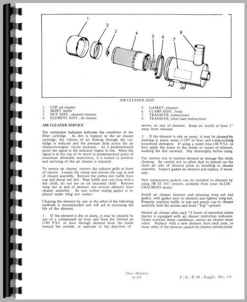 Allis Chalmers 190 Tractor Service Manual