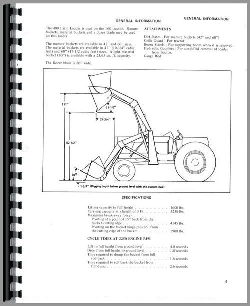 Allis Chalmers 460 Farm Loader Operators Manual