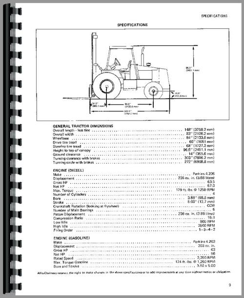 Allis Chalmers 705C Forklift Operators Manual