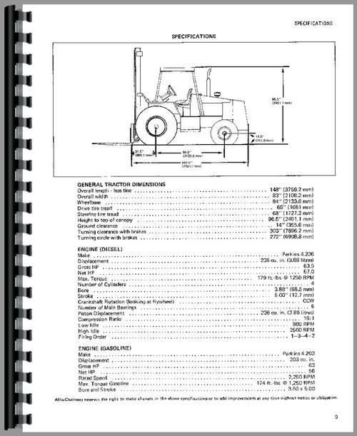 Allis Chalmers 708C Forklift Operators Manual