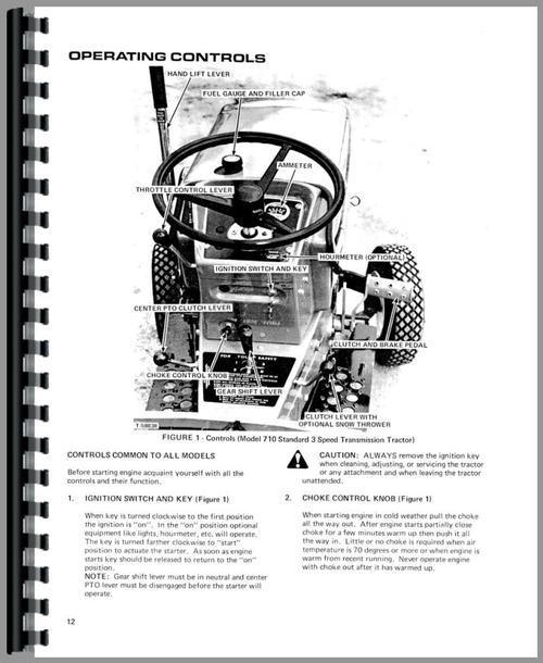 Allis Chalmers 710 Lawn & Garden Tractor Operators Manual