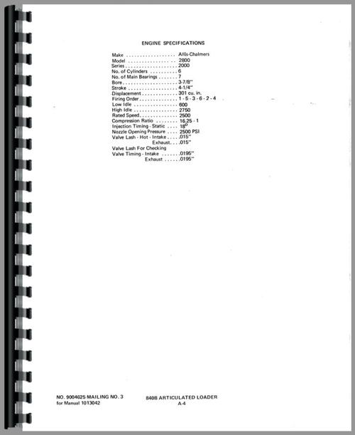 Allis Chalmers 840 Wheel Loader Service Manual