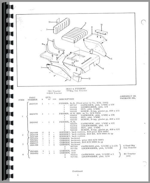 Allis Chalmers B-12 Lawn & Garden Tractor Parts Manual