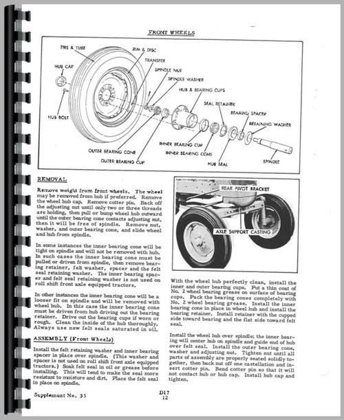 Allis Chalmers D17 Tractor Service Manual