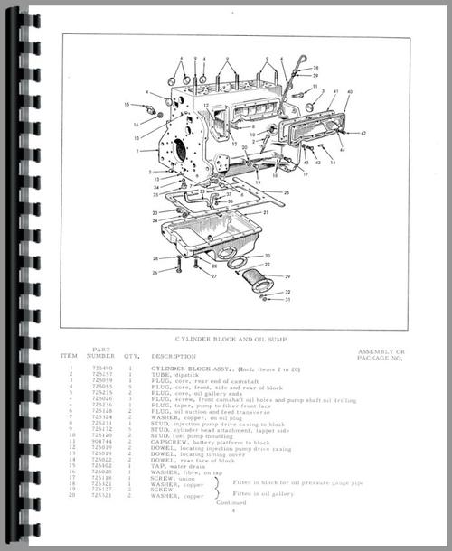 Allis Chalmers ED40 Tractor Parts Manual