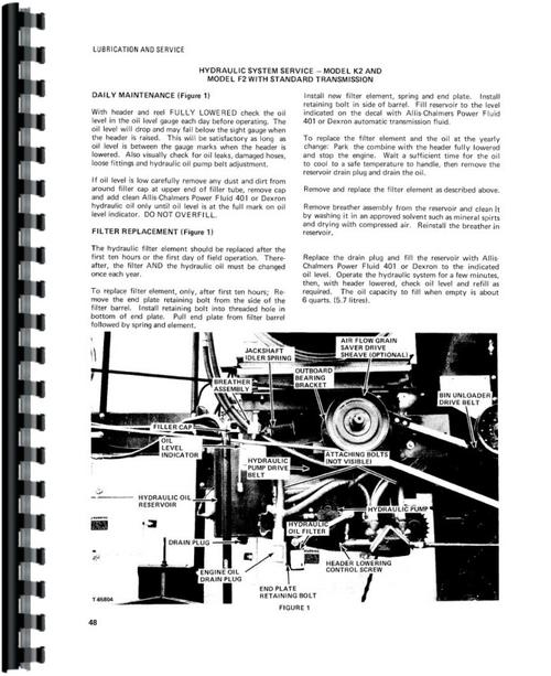 Allis Chalmers F2 Combine Operators Manual