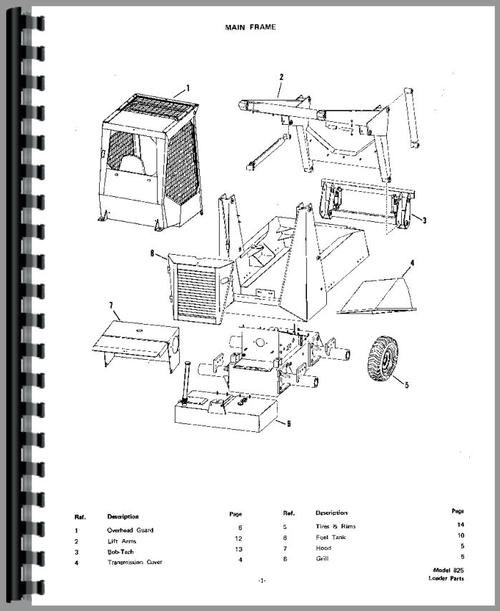 Bobcat 825 Skid Steer Loader Parts Manual