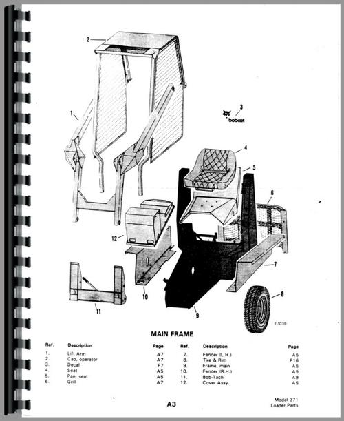 Bobcat M-610 Skid Steer Loader Parts Manual